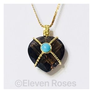 18k Gold X Cable Wrapped Gemstone Pendant